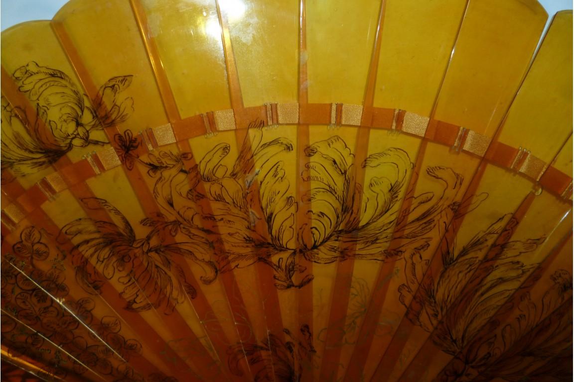Hérons et pivoines, éventail japonais fin XIXème siècle