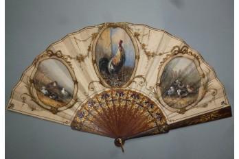 Coq et poussins, éventail fin XIXème siècle