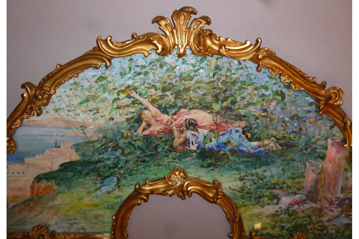 Le repos des Arcadiennes, éventail de Heullant, XIXème siècle