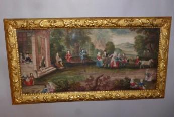 Scènes de vie au village, feuille d'éventail fin XVIIème siècle
