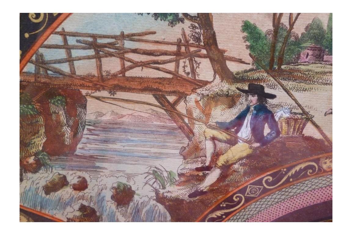 Félicité familliale à la campagne, feuille d'éventail début XIXème
