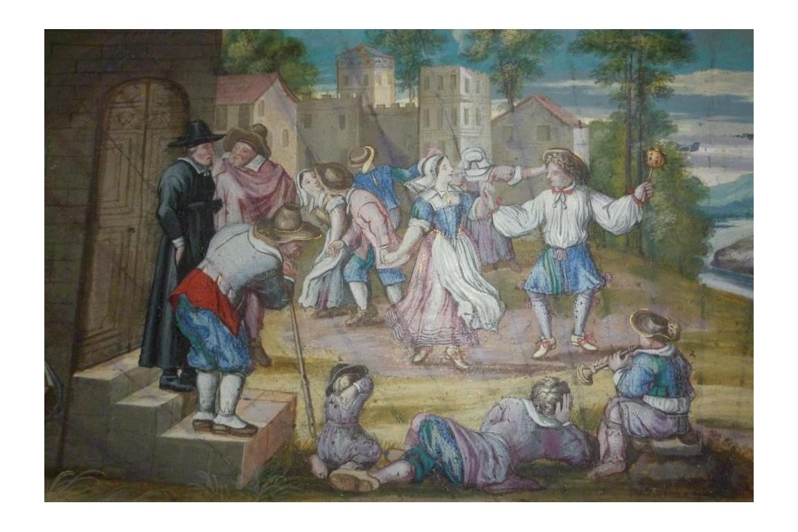 Danse paysanne, feuille d'éventail fin XVIIème début XVIIIème