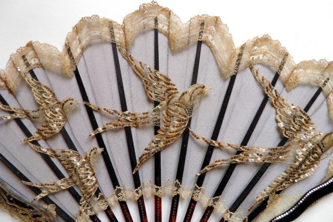 Lace swallows, fan circa 1900