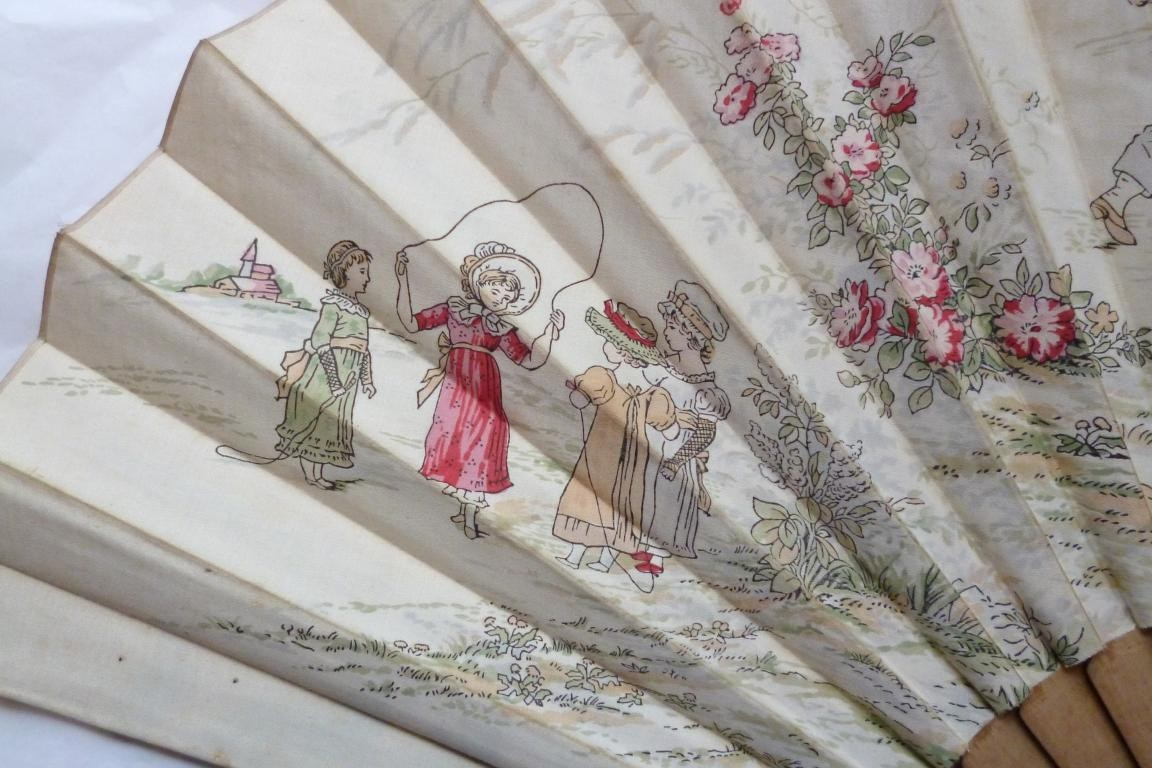 Children are playing, fan by Kate Greenaway