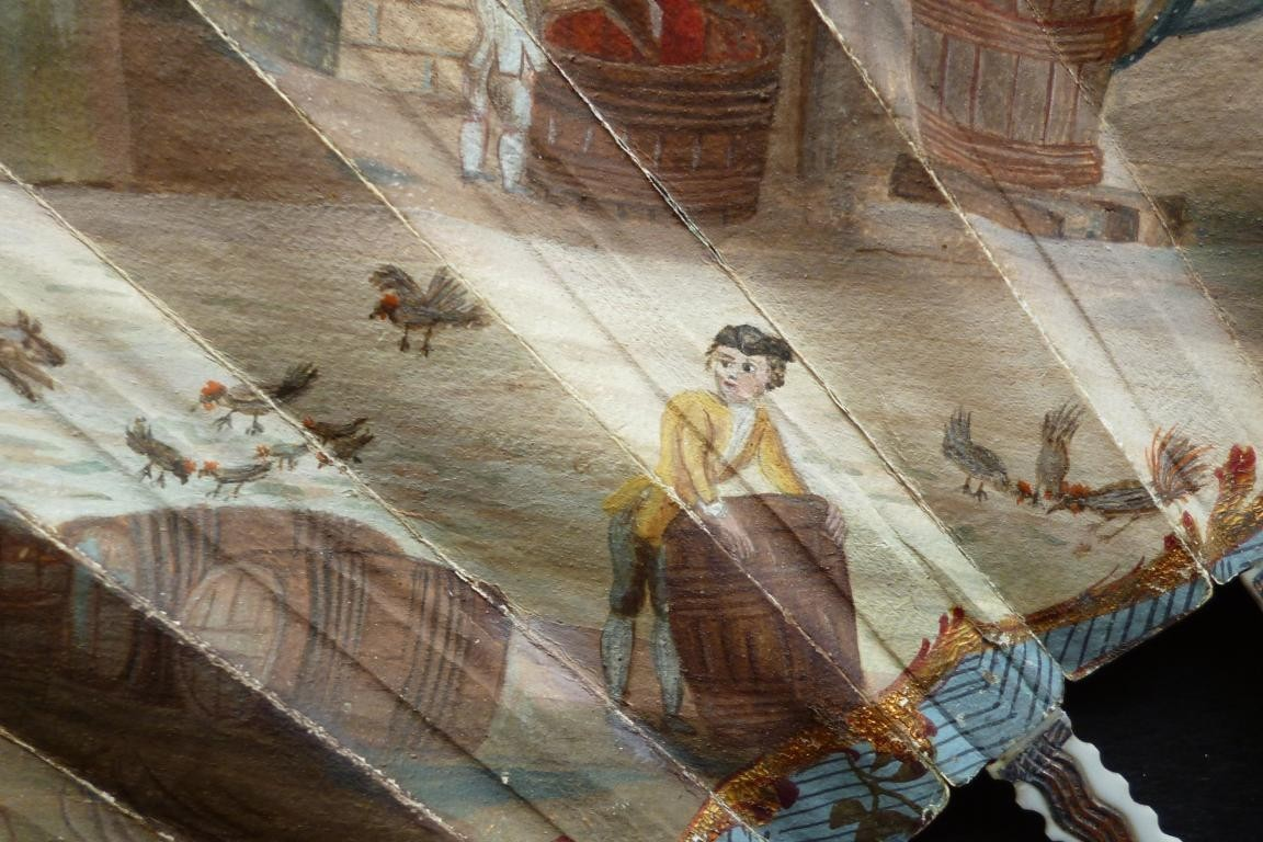 Vendanges et moissons, éventail vers 1770