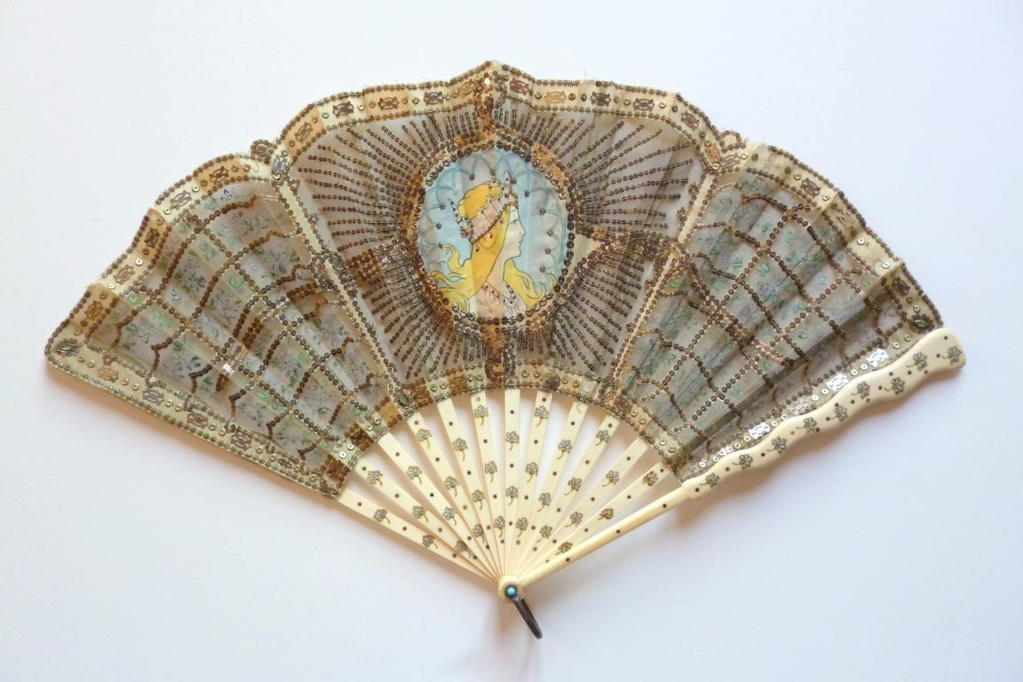 Like Mucha, Art Nouveau fan circa 1905