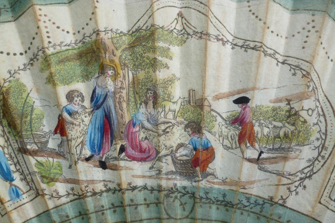 La tonte des moutons, eventail semi-geant vers 1785-90