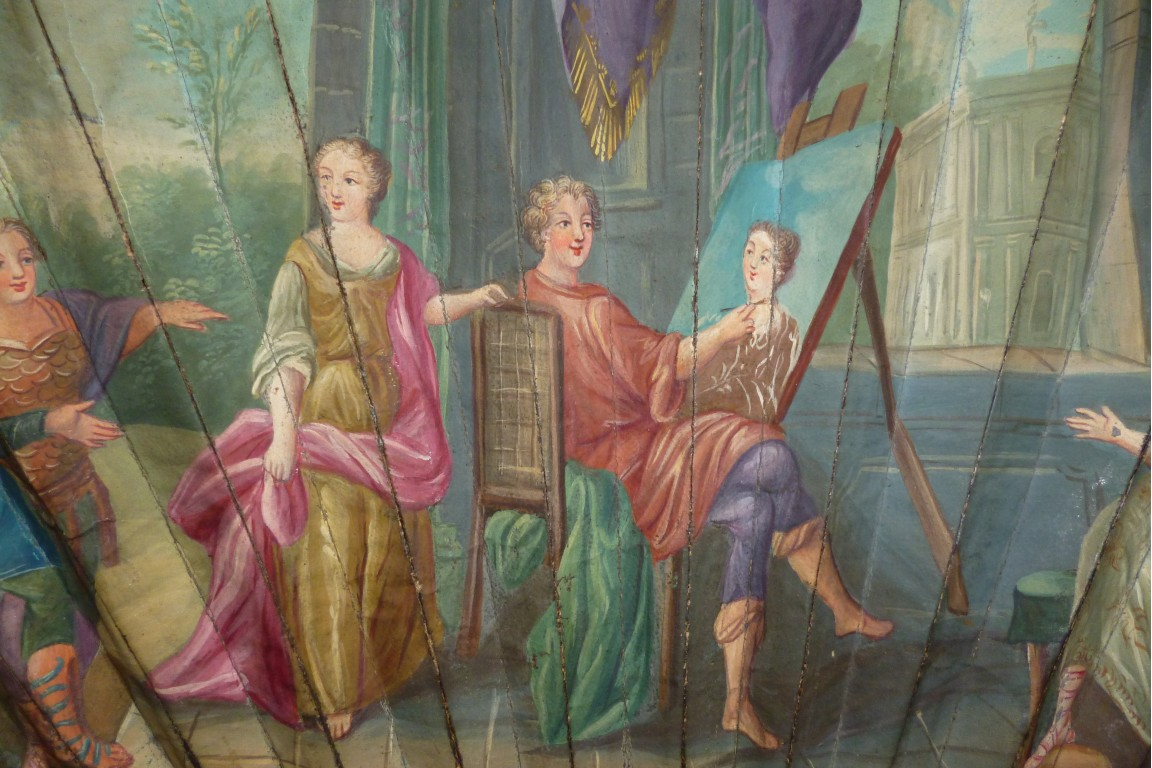Apelles and Campaspe, fan circa 1720