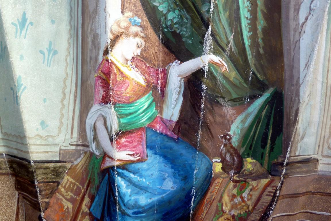 Woman and monkey, orientalist fan, crca 1870