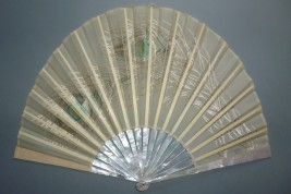 Pearly peacock, early 20th century fan