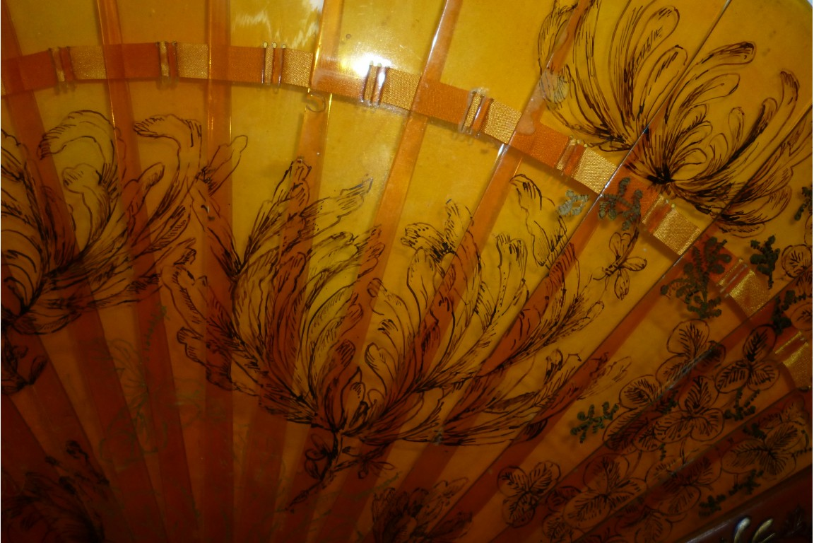 Herons and peonies, late 19th century fan