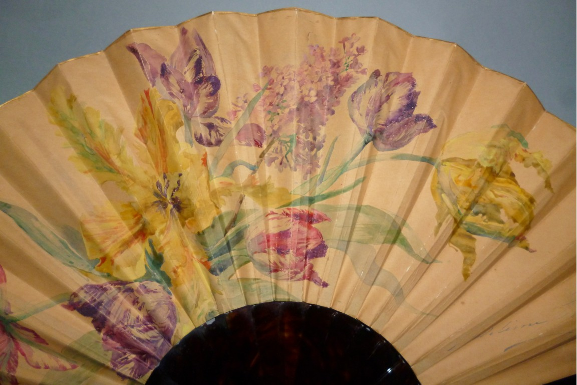 Tulips and lilac, fan by Madeleine Lemaire, circa 1895