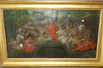 Moïse et le frappement du rocher, feuille d'éventail fin XVIIème siècle