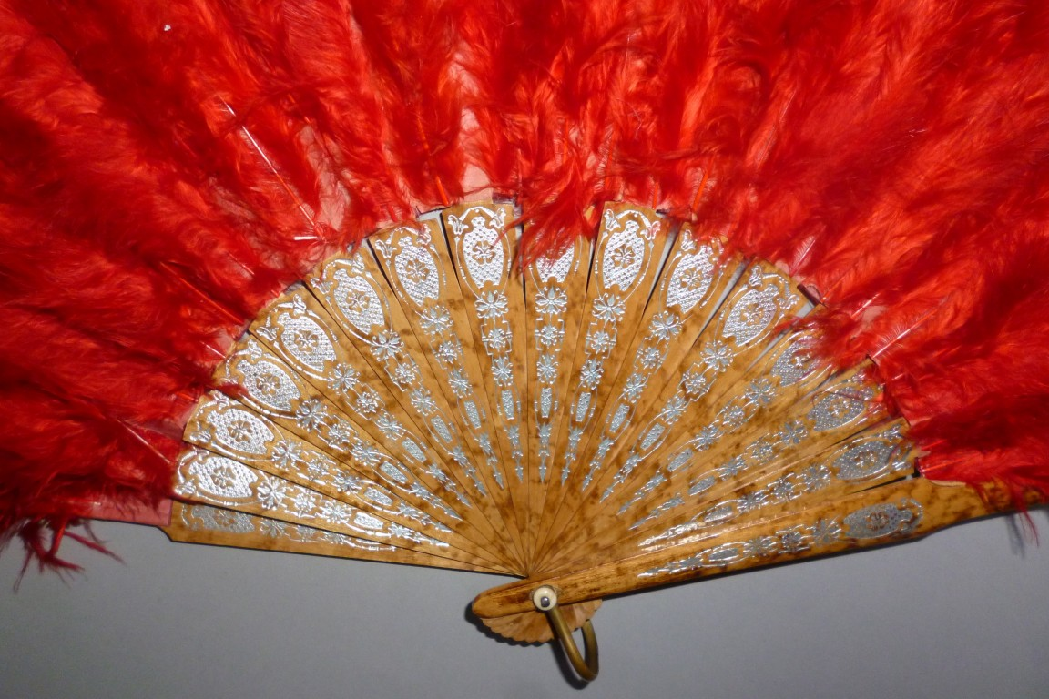 Red, feather fan, late 19th century