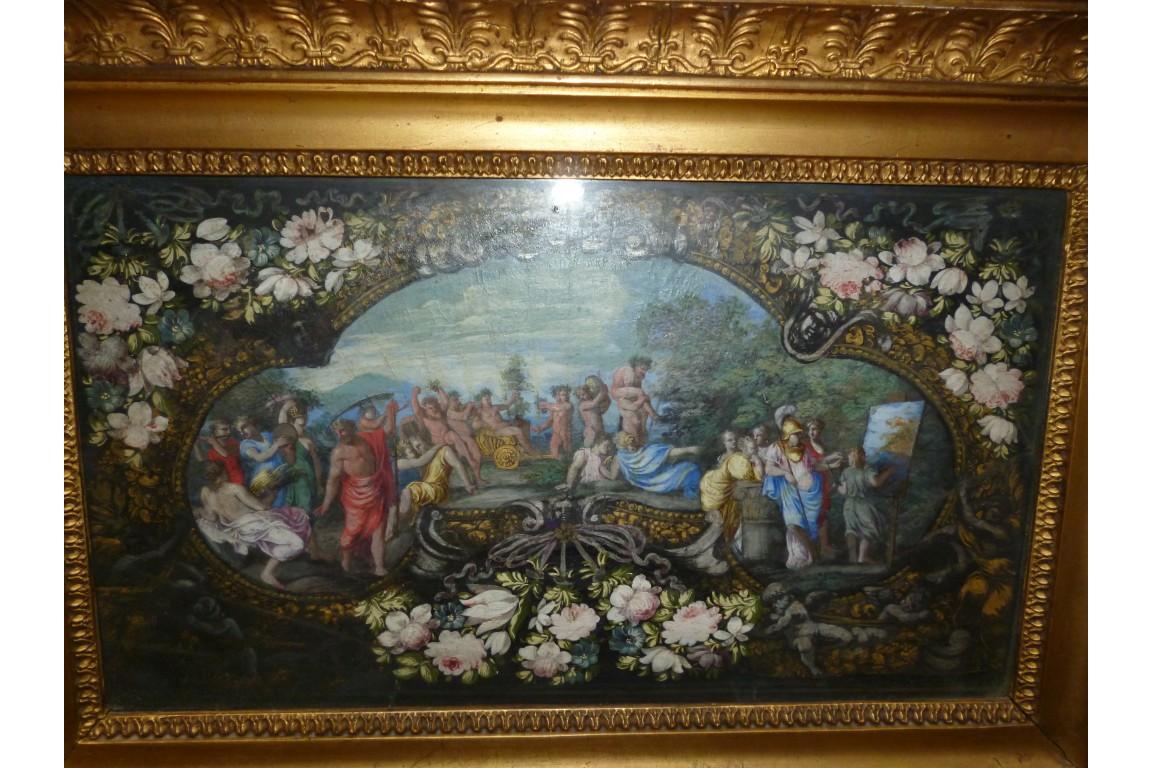 Bacchus, feuille d'éventail fin XVIIème siècle