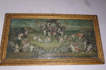 Des anges à Versailles, feuille d'éventail vers 1700