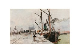 Port of Calais, fan by Eugene Dauphin 1891