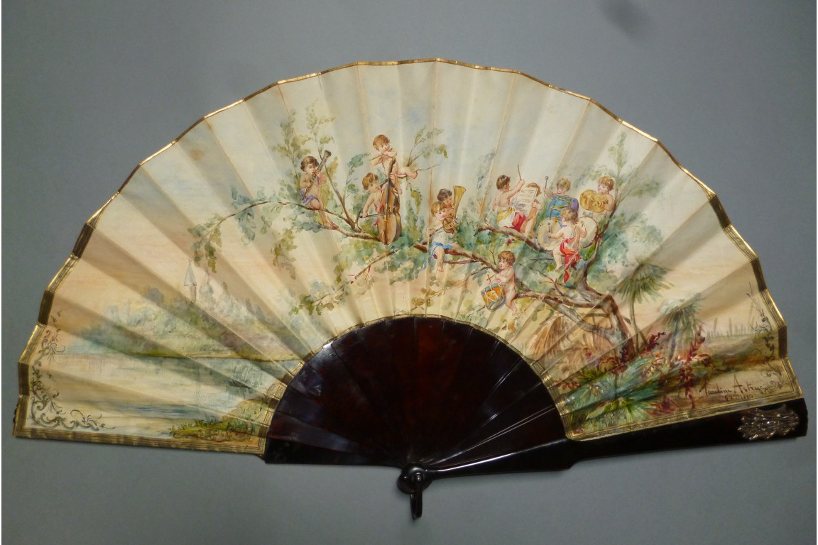 Orchestra of the cherubs, fan by Pauline Astruc 1880
