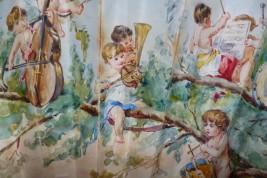 Orchestre des chérubins, éventail de Pauline Astruc 1880