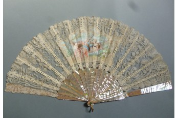 The Beauty with the mirror, fan circa 1890