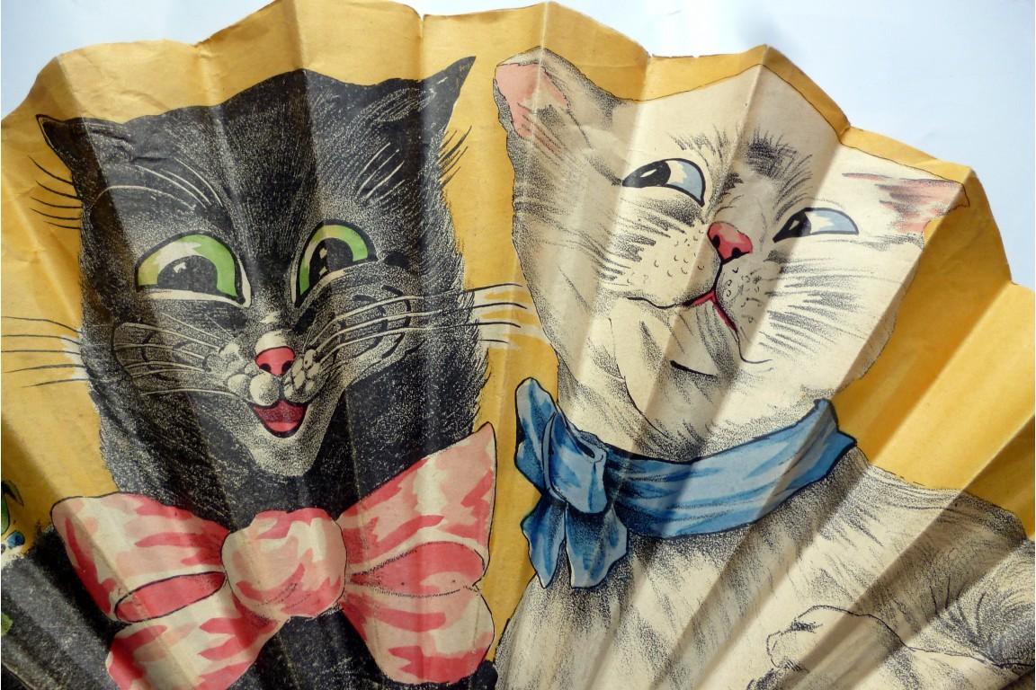 White cat, black cat, fan early 20th century