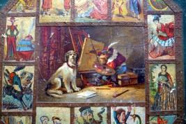 Singeries et chiens savants, paire d'écrans à caricatures XIXème siècle