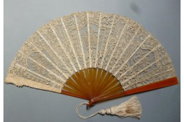 Flowers lace, fan circa 1880