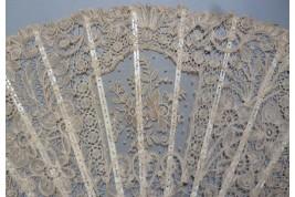 Flowers lace, fan circa 1880