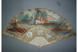 The meal of hunting, fan circa 1750