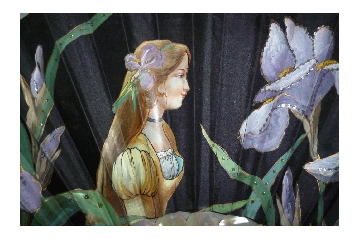 The lady with iris, Art Nouveau fan