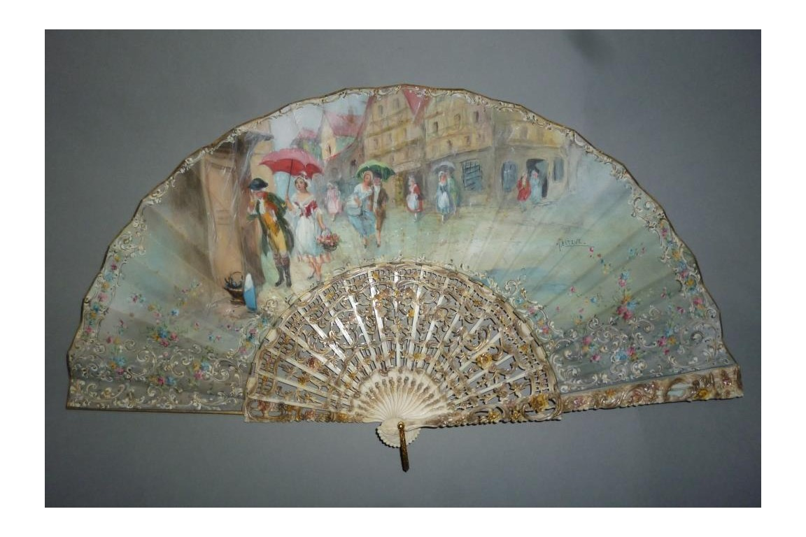 Summer rain, fan by Estève, circa 1910
