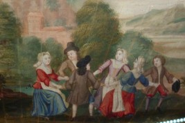 Life in village, 17th century fan leaf