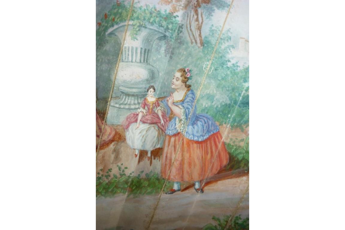Doll and children, fan circa 1860-70