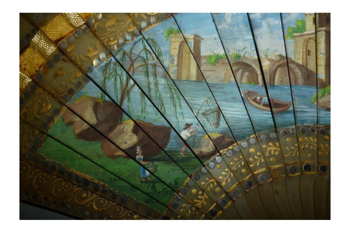 Agréable pêche, éventail vers 1820
