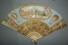 Souvenir of Bergamo with hot air balloon, fan circa 1900-1910