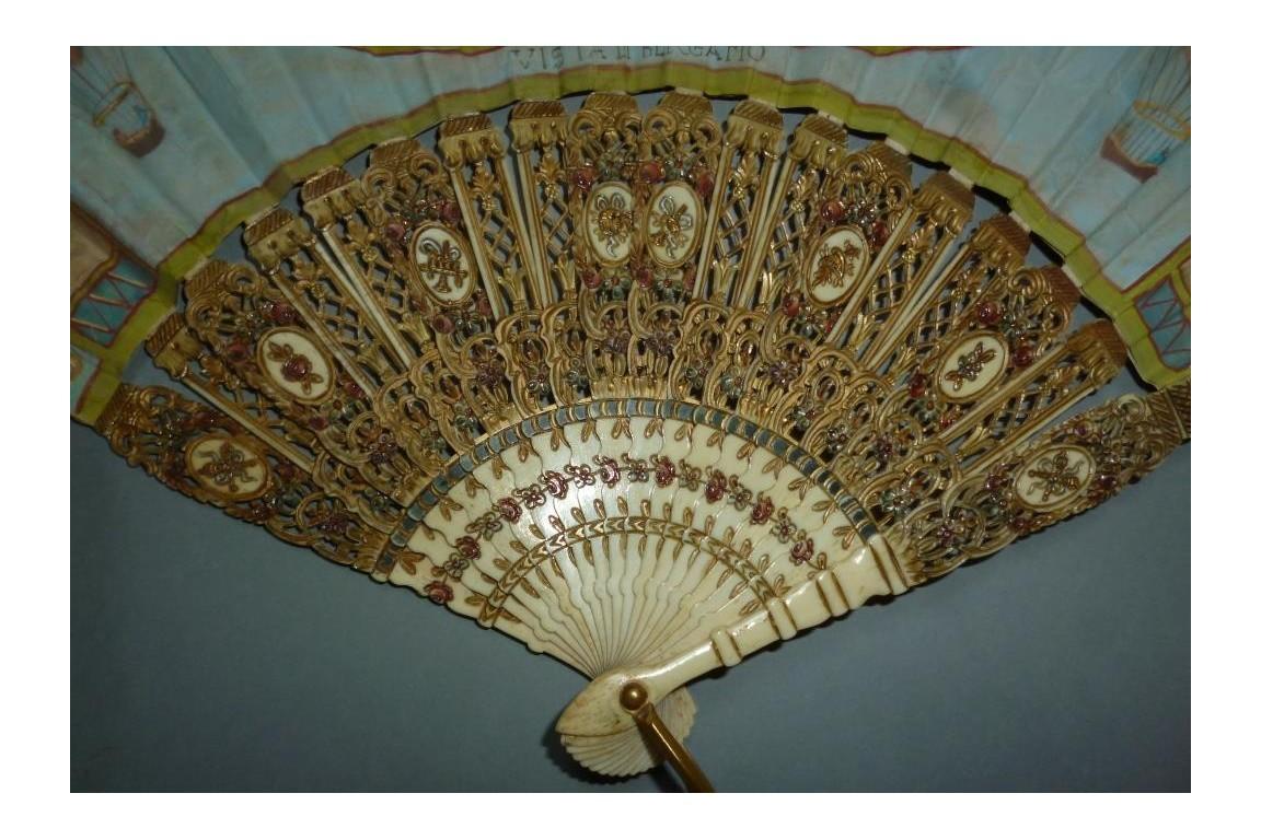 Souvenir of Bergamo with hot air balloon, fan circa 1900-1910
