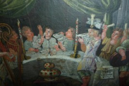 Repas musical, feuille d'éventail XII - XVIIIème