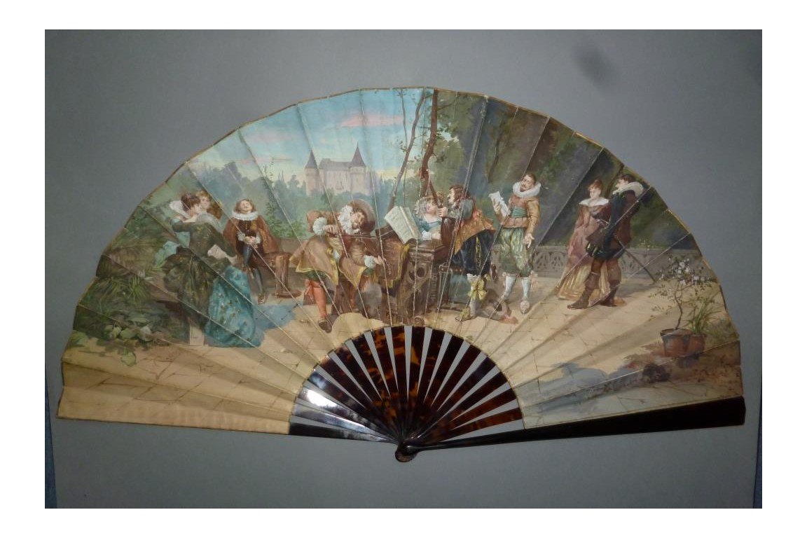 Concerto in front of the castle, fan by Van Garden and Alexandre,circa 1870