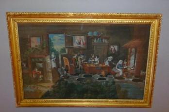 La taverne de la cartomancienne, feuille d'éventail milieu XVIIème siècle