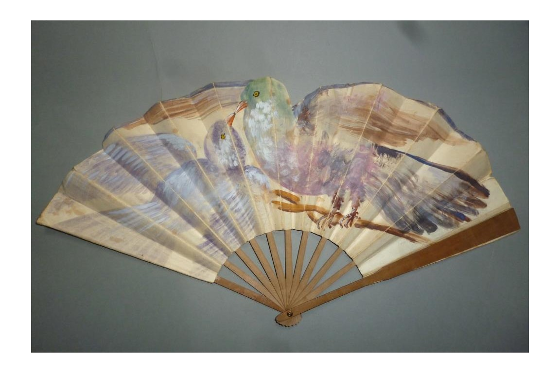 Couple of pigeons, early 20th century fan