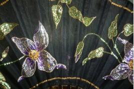 Clématites, éventail Art Nouveau