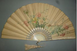 Carnations by Devaux, late 19th century fan