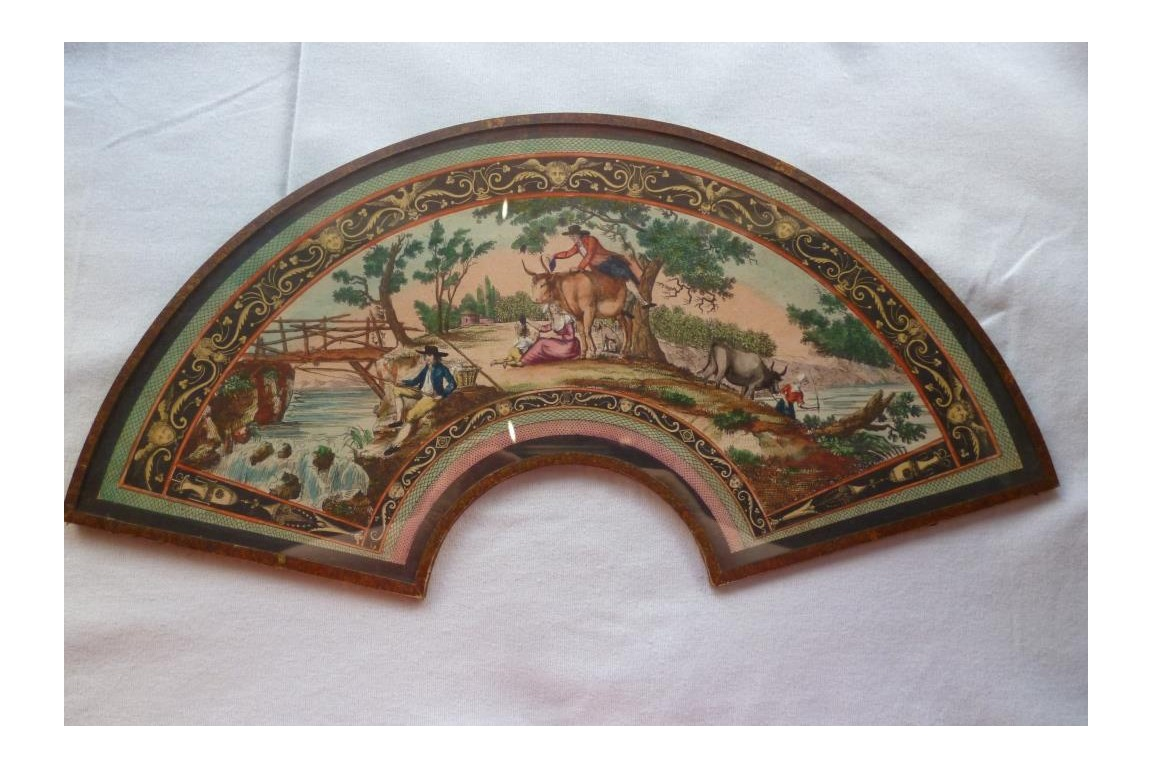 Family bliss in the countryside, fan leaf, early 19th century
