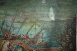 Scène de marché dans un port de la ligue hanséatique au XVIIème siècle, feuille d'éventail