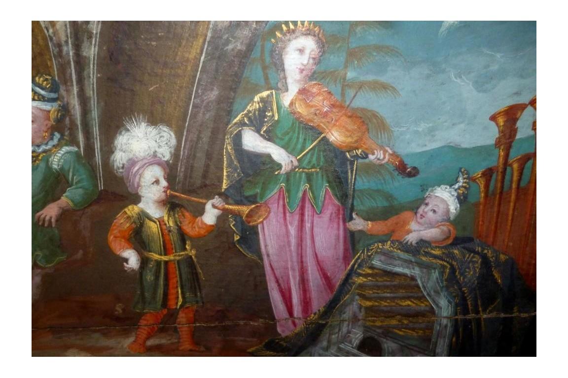 L'audience du Prince, feuile d'éventail vers 1700