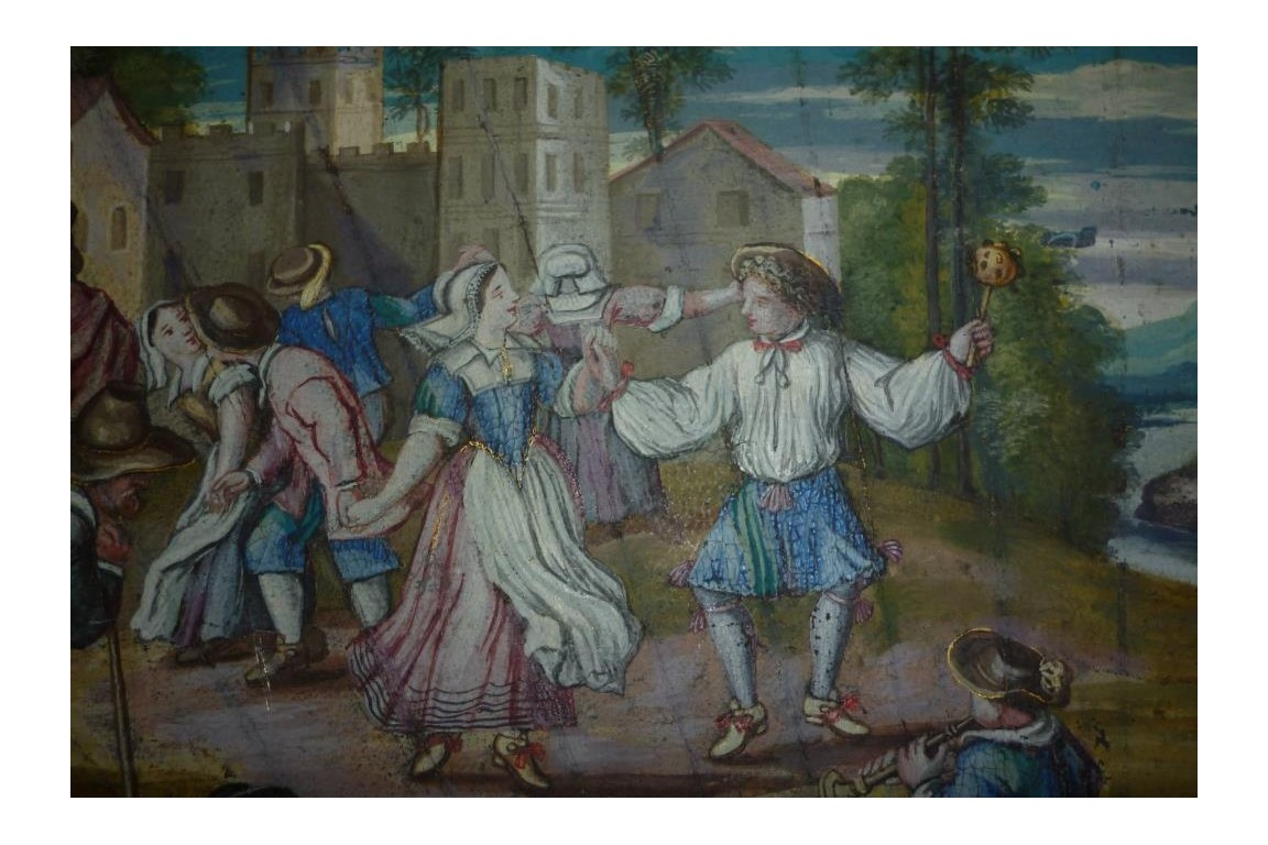 Peasant dance, fan leaf, late 17th early 18th century