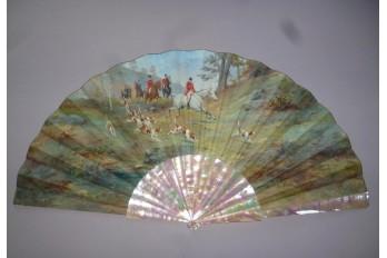 Hunting, fan by Van Garden, late 19th century