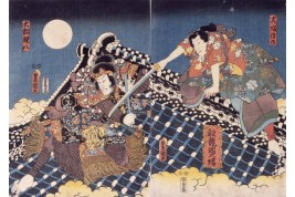Combat sur le toit du Hōryūkaku, éventail d'après Utagawa Kunisada, vers 1900