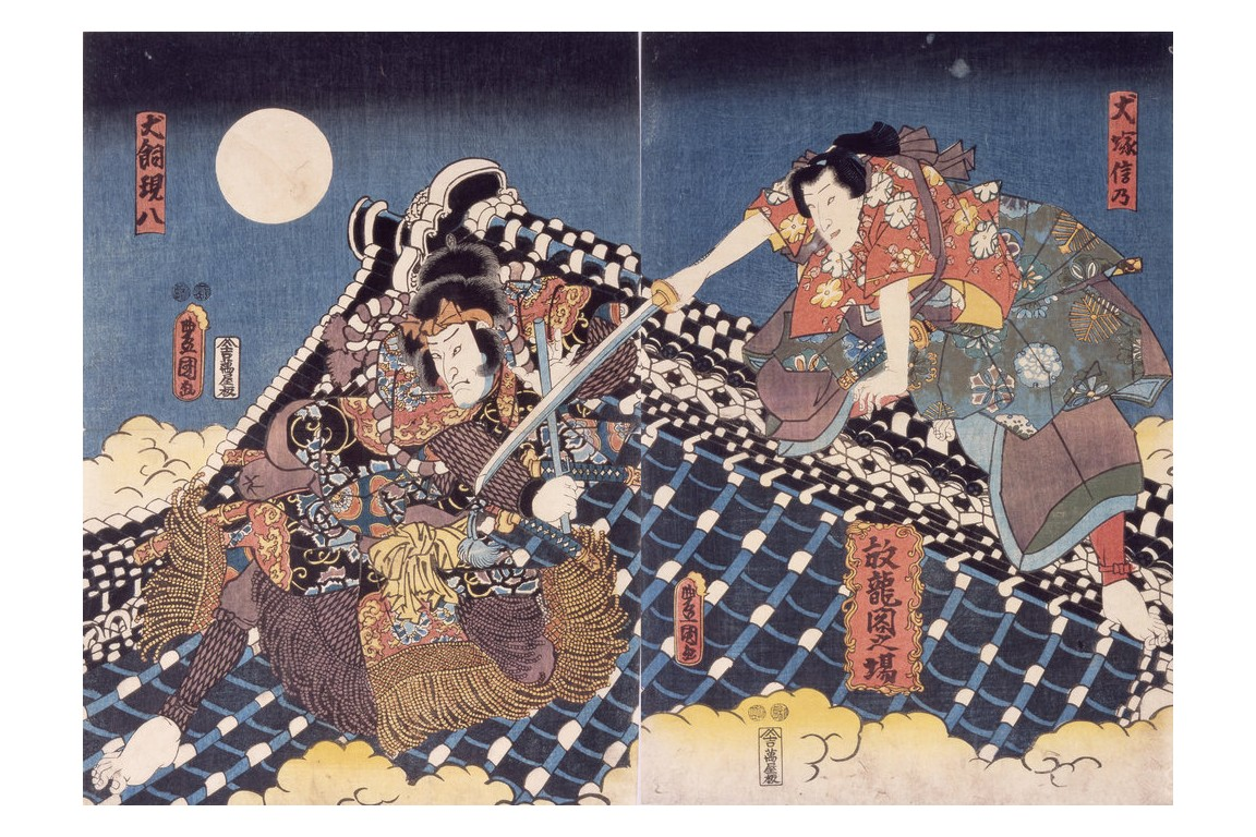 Fight on the Roof of the Hōryūkaku, fna since Utagawa Kunisada, circa 1900