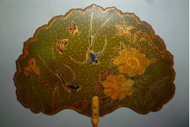Swallows, two fixed fans, late 19th century